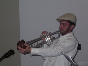 Jeremiah Faith playing trumpet